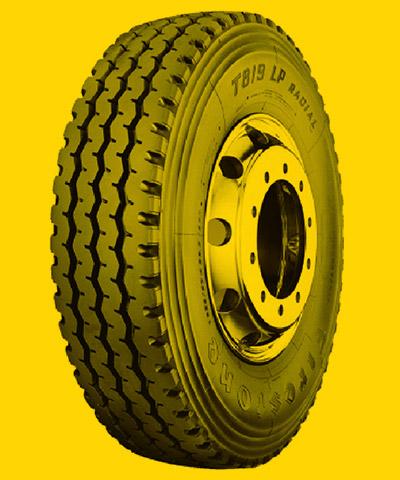 Foto de um pneu de caminhão para Trajeto Misto.
