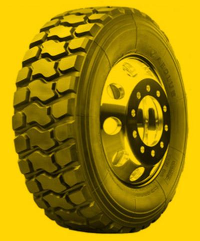 Foto de um pneu de caminhão para trajeto Off-Road.