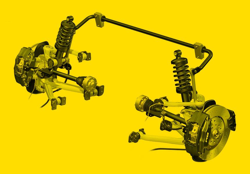 Foto demonstrando como é a suspensão com sistema Duplo A (Double Wishbone).
