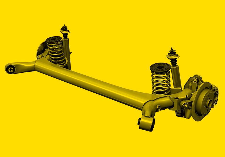 Foto demonstrando como é o sistema de suspensão com eixo-rígido.