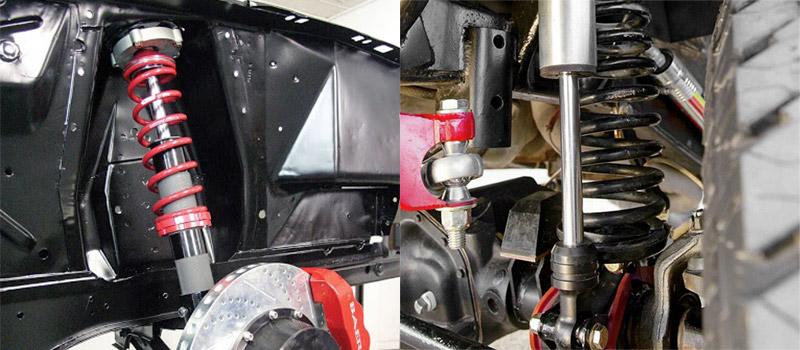 Aqui são mostrados layouts típicos para molas helicoidais. Nos amortecedores do tipo MacPherson (à esquerda), uma mola helicoidal envolve o amortecedor - ambos montados em um amortecedor. Em outros veículos sem amortecedores (direita), as molas helicoidais são montadas separadamente dos amortecedores.