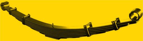 Foto de uma suspensão do tipo feixe de molas, muito usada em pick-ups e caminhões.
