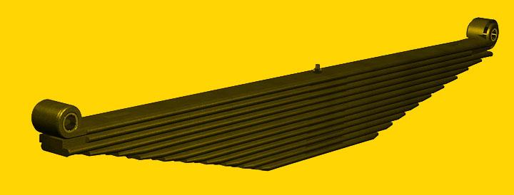 Feixe de molas com múltiplas lâminas trapezoidais.